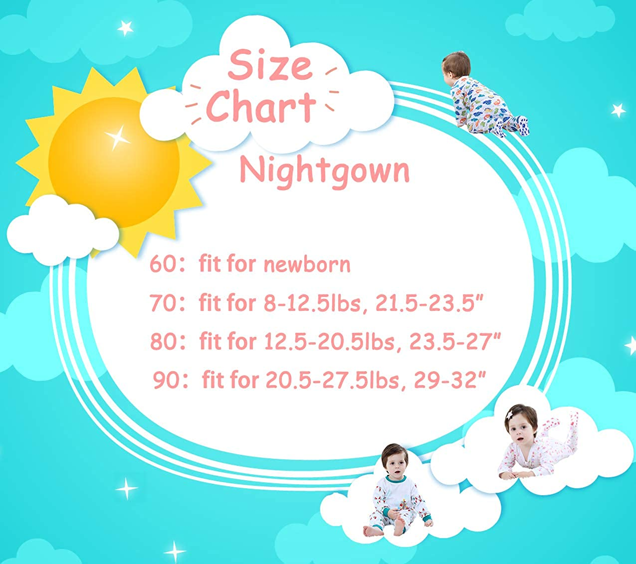 Marquebaby Baby Sleep Gown Organic Cotton Lightweight 0-18 Months Sleeper for Easier Diaper Changing with Mitten Cuffs