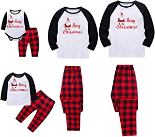 🎅🎅Christmas Pajamas for Family, Merry Christmas Santa Classic Plaid Matching Family Xmas Pajama Set