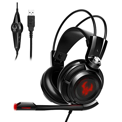EasyAcc G1 Virtual 7.1 - Juego de Auriculares para Videojuegos, Sonido Envolvente, función de