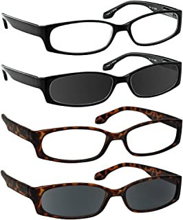 Reading Glasses for Women and Men - Best Designer 4 Pack of Readers Spring Hinge