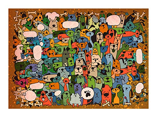 Bgraamiens Puzzle-Puppies' Party-1000 Pieces Cute Cartoon Dogs Puzzle Color Challenge Jigsaw Puzzles for Adults and Kids