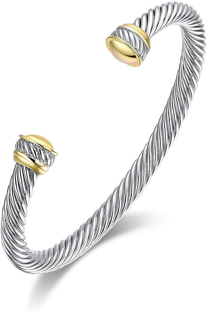 Two Tone Cable Bangle Antique Cuff Bracelet