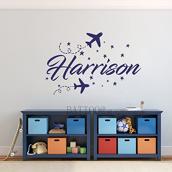BATTOO Personalized Name Wall Decal Airplane Boys Girls Name Decals Nursery Decor Plane Wall Decal Name Decal Kids Room Decor Biplane Sticker PLUS Free Hello Door Decal
