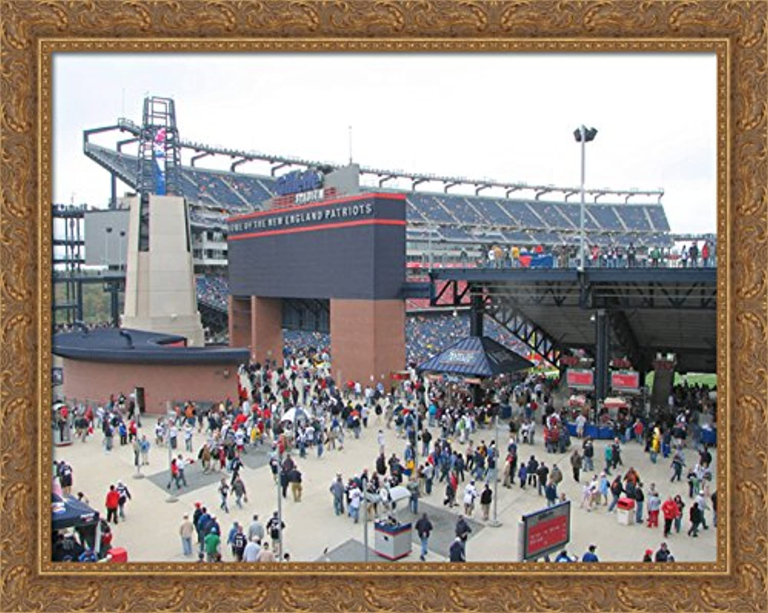 Gillette Stadium 36x28 Large gold Ornate Wood Framed Canvas ArtHome of the New England Patriots