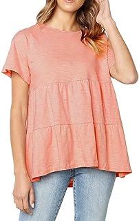 AOJIAN Women's T Shirt Short Sleeve Shirts O-Neckline Splicing Solid Tunic Blouse Tanks Vest Tops