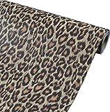 Taogift Vinilo autoadhesivo de película de leopardo para estante de muebles, adhesivo decorativo de leopardo, papel para manualidades, paredes, armarios, cajón, calcomanía de 30 cm x 3 m