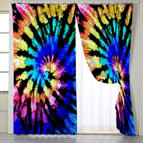 "BlessLiving Trippy Window Curtain, Tie Dye Drapes for Living Room, Bedroom, Purple Blue, Boho Window Treatments Curtains, 1 Panel, 42"" W x 84"" L, Rod Pocket"