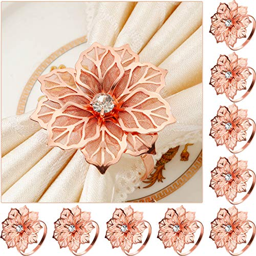 12 Pieces Alloy Napkin Rings with Hollow Out Flower Napkin Holder Floral Rhinestone Napkin Rings Adornment Exquisite Household Napkins Rings Set for Wedding Banquet Christmas Dinner Decor (Rose Gold)