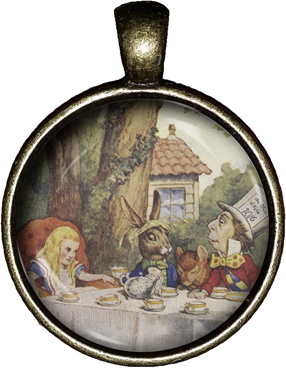 Alice in Wonderland Necklace Handmade Mad Hatter Tea Party Jewelry Gift Pendant Charm Novel Lewis Carroll