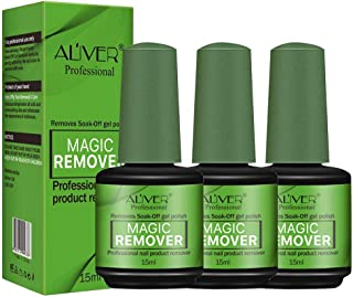 Aliver 3 Pack Magic Nail Polish Remover - Professional Quick & Easy Removes Soak-Off Gel Nail Polish Within 3-5 Minutes - 15ml/bottle