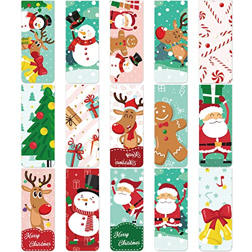 30 Pieces Christmas Bookmarks Magnetic Bookmarks Cute Magnet Page Clips Bookmark with Santa Snowman Reindeer Pattern for Kids Students School Home Reading Office Stationery