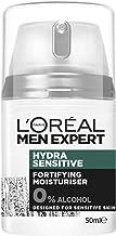 L'Oréal Paris Men Expert Hydra Sensitive Moisturiser For Men, Alcohol-Free, 24 Hour Hydration for Sensitive Skin, 50ml