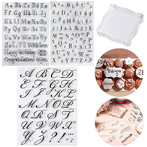 Juego de 3 sellos para tartas con letras y letras en minúsculas, para decoración de tartas, suministros de decoración para tartas y fiestas