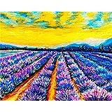 初心者のためのキッズアダルト学生数字でペイントキャンバスキット創造性を使って、脳の貴重な親子ゲームをプレイする40x50cm(フレームレス)紫色の花