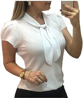 neveraway Women Short Sleeve Slim-Fit Chiffon Bow Tie Office Shirts Blouse Tops