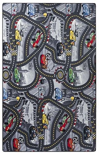 havatex Kinderteppich Cars - Farben: Rot, Blau, Grau   Spielteppich schadstoffgeprüft pflegeleicht strapazierfähig   Kinderzimmer Spielzimmer Zeichentrick Comic, Farbe:Grau, Größe:200 x 300 cm