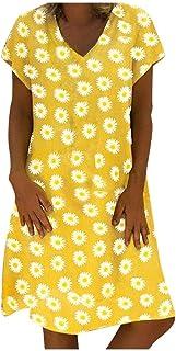 VEMOW Vestido de Las Mujeres del Estilo del Verano del Vestido Femenino de Las Mujeres del algodón Ocasional más el Vestid...
