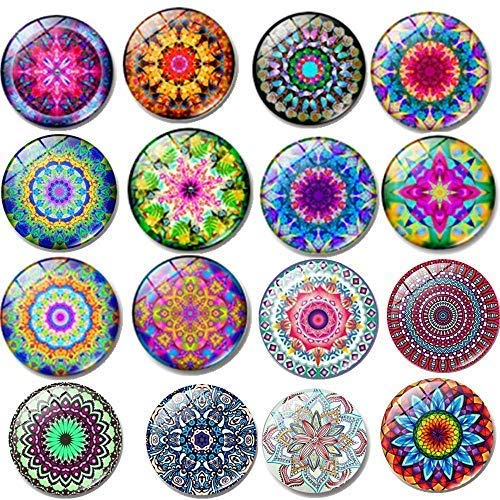 Fridge Magnets16 PCS Beautiful Glass Refrigerator Magnets Funny Fridge Stickers for Stainless Steel Refrigerator,Flower Magnet for Office, Calendar,Air conditioner,Whiteboard Magnets (16 pcs Flower)