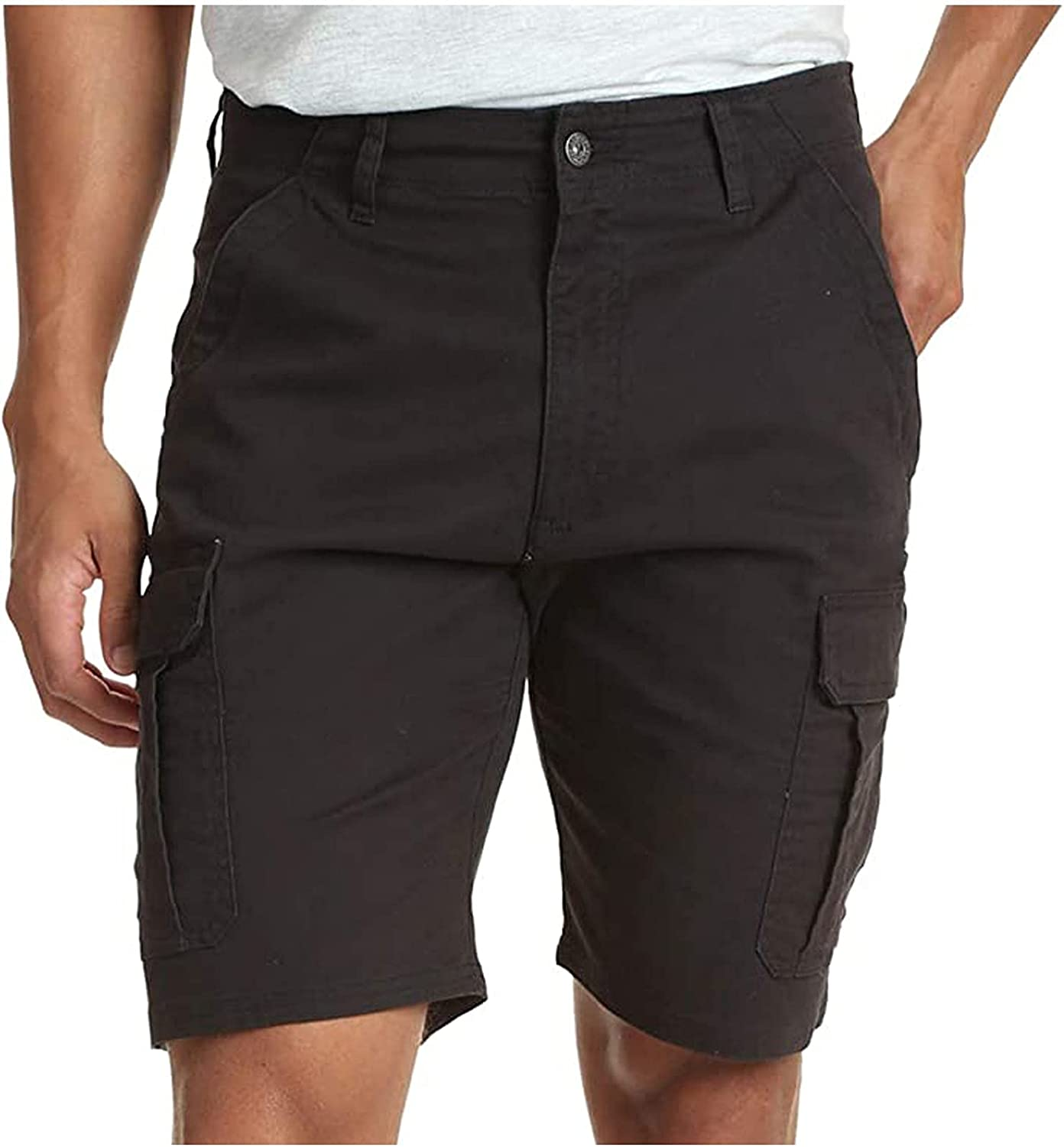 Men's Cargo Shorts Button Casual Lightweight Stretchy Work Pants with Multi Pockets Classic Relaxed Fit