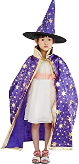 🍀Libobo🍀Childrens' Halloween Costume Wizard Witch Cloak Cape Robe and Hat for Boy Girl (Purple)