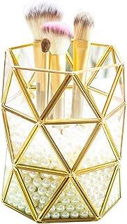 Levilan Champagne Gold Glass Brush Holder Makeup Organizer Vintage Brass Edge Cosmetic Organizer Makeup Decoration Make up Brushes Holder(Geometry)
