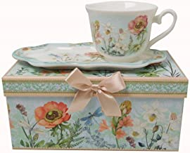 Lightahead New Bone China Unique Tea/Coffee Cup 10 oz and Snack Saucer Set in a Reusable Handmade Gift Box with Ribbon elegant floral design in attractive gift box