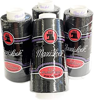 Milisten 3000 Yards Sewing Threads Yarn Spools Cone for Serger Quilting Upholstery Drapery Beading Machine Sewing Black