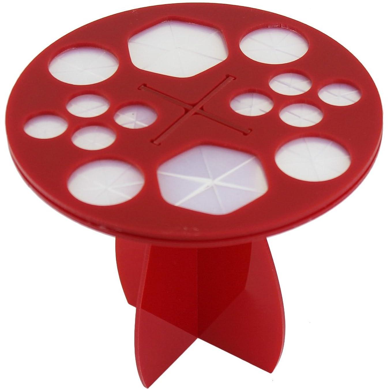 店主大洪水リル(メイクアップエーシーシー) MakeupAcc メイクブラシ干しラック ブラシ収納 アクリル乾かすブラシフレーム メイクアップブラシホルダー  ラウンド型 3色 (赤) [並行輸入品]