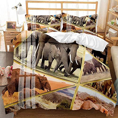 Juego de Cama,Funda nórdica 135x200 cm Patrón de Elefante Animal Microfibra Funda Edredon con Cierre de Cremallera, 2 Fundas de Almohada 50x75 cm