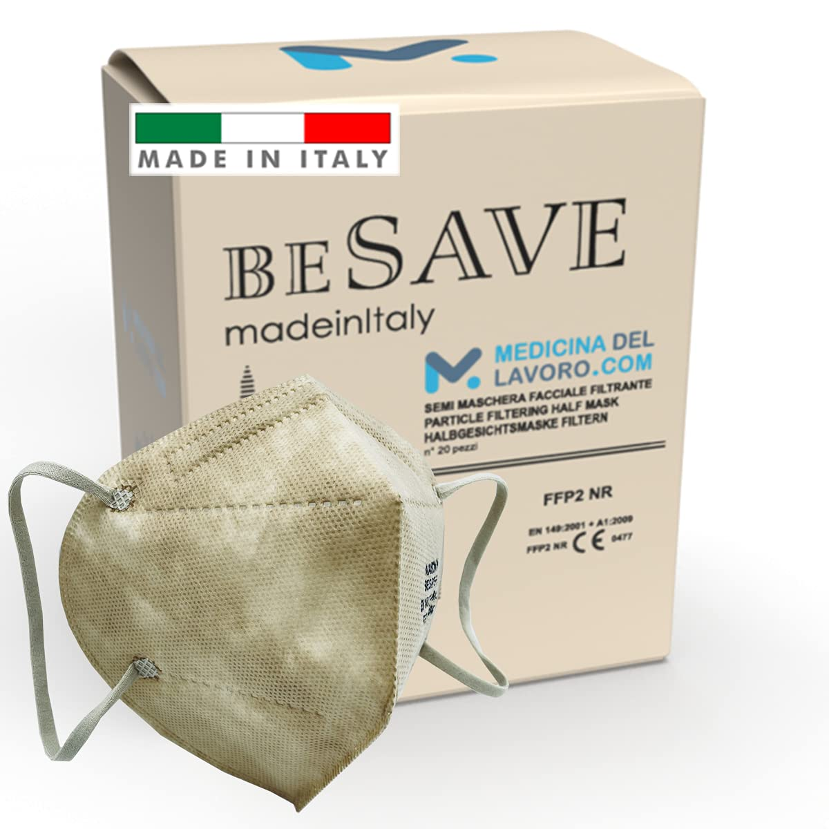 20 Mascarillas FFP2/KN95 Colores Beige Homologadas Certificación CE de 5 Capas, Máscara Protectora, Mascarilla de Protección Personal con Filtros de Calidad BFE≥95, 20 Piezas - Made in Italy