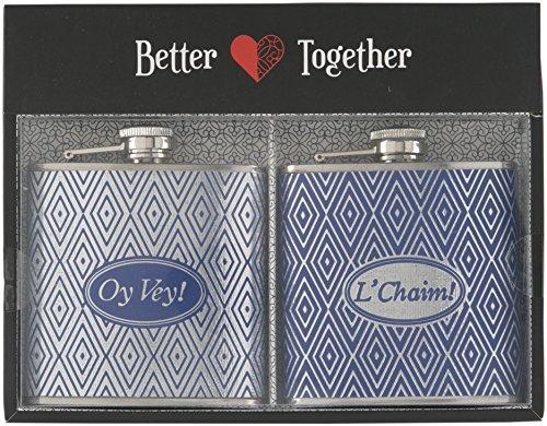 Home Essentials S/2 6oz Flask Oy Vey! & L'Chaim!