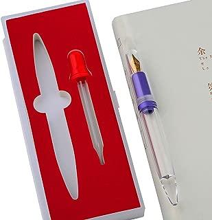 Upgraded Moonman M2 Fountain Pen Metallic Purple, Eye Dropper Filling, Huge Ink Capacity, Clear Transparent Acrylic Demonstrator, Fine Nib Aluminum Grip Section, Business Gift Pen Case Set
