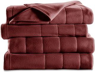 Sunbeam Heated Blanket | 10 Heat Settings, Quilted Fleece, Garnet, Queen - BSF9GQS-R310-13A00