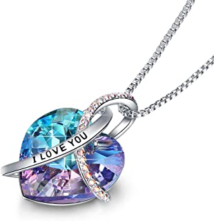 EleShow I Love You in My Heart Pendant Necklaces for Women Made with Swarovski Crystals