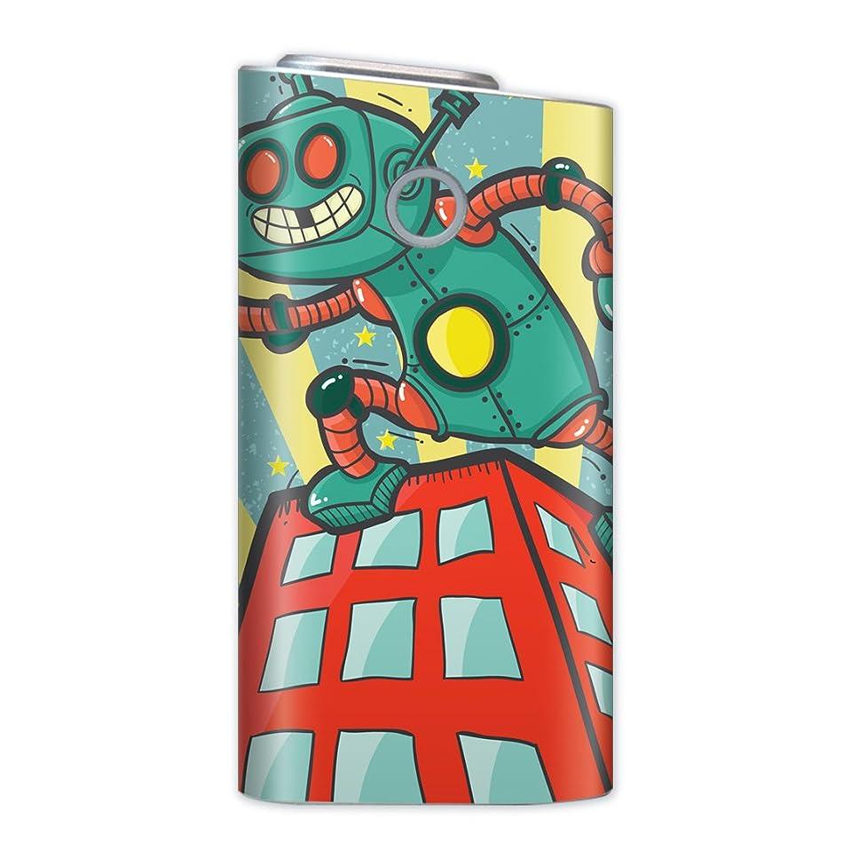 サーバントコール公式glo グロー グロウ 専用スキンシール 裏表2枚セット カバー ケース 保護 フィルム ステッカー デコ アクセサリー 電子たばこ タバコ 煙草 喫煙具 デザイン おしゃれ glow ユニーク ロボット イラスト レトロ 008742