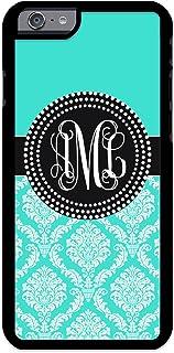 Custom Phone Case iPhone 7 PLUS, iPhone 8 PLUS Case iZERCASE Monogram Personalized Damask Colorful Multi-Colored Pattern for Apple iPhone 7 PLUS, iPhone 8 PLUS (TURQUOISE)