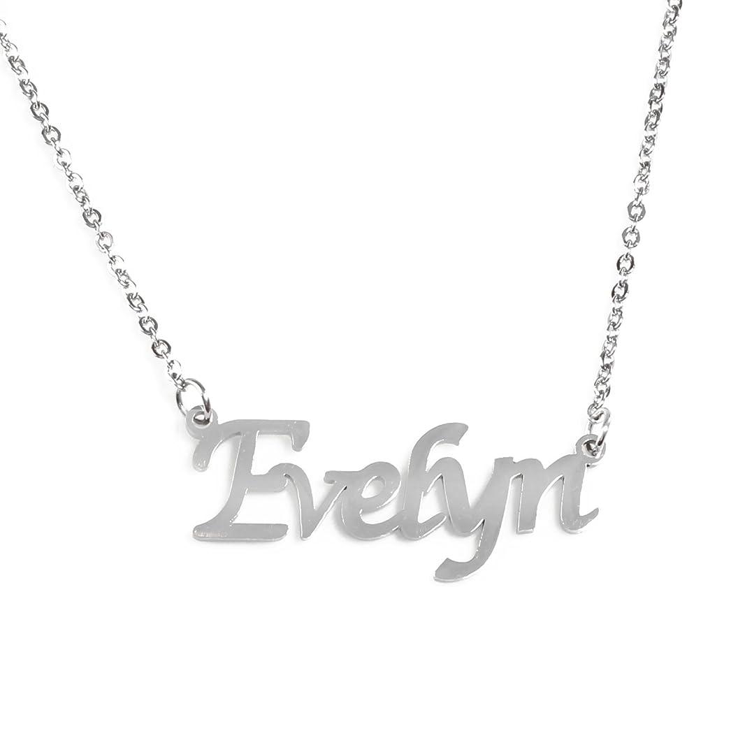 Zacria Evelyn Name Necklace - Silver Tone rfasexneclv82