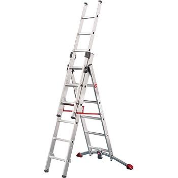 Hailo ProfiLOT.3 - Escalera industrial 3 tramos de aluminio con estabilizador curvo LOT-SYSTEM (3 x 6 peldaños): Amazon.es: Bricolaje y herramientas