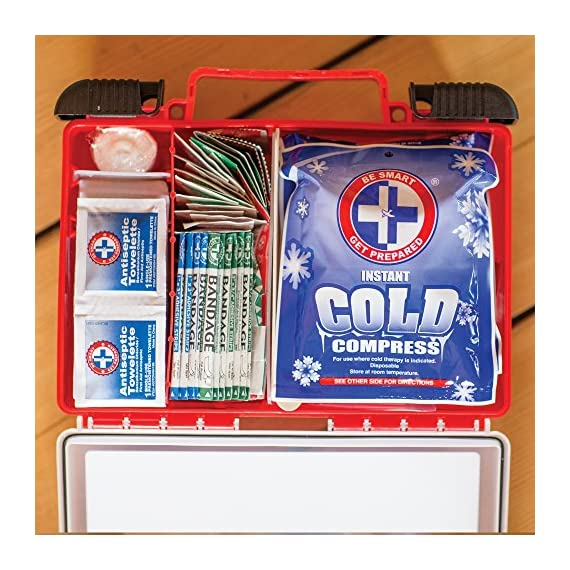Be Smart Get Prepared First Aid Kit, 250 Piece Set 1 Count 4 250 pieces of comprehensive first aid treatment products. Manufactured by the leading manufacturer of First Aid Kits in the USA. Meets or exceeds OSHA and ANSI 2009 guidelines for 50 people. Ideal for most businesses and perfect for family use at home. Fully organized interior compartments provides quick access. Rugged, sturdy hard plastic case is impact resistant