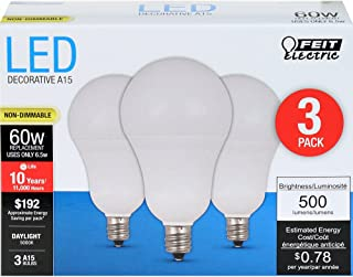 FEIT ELECTRIC A1560C/850/10KLED/3 A1560C/850/10Kled Non-Dimmable Led Lamp, 60 W, 120 Vac, 300 Lumens, 5000 K, CRI >=80, 1-3/4 in Dia, 3.25