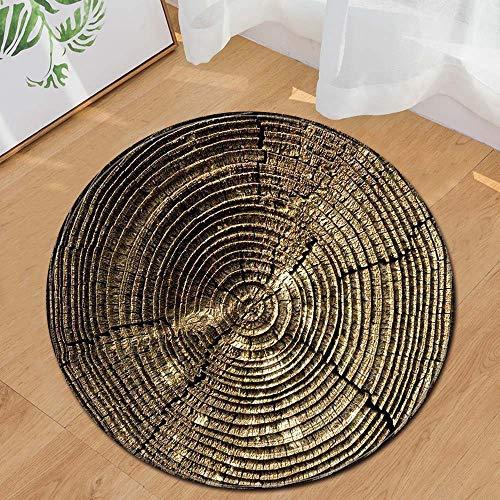 Runder Teppich Home Area Rug Baum Jährliche Ring Holzmaserung Kissen für Kinder Spielen Wohnzimmer Boden Yoga-Matte(Mehrfarbig B,Diam 60cm)