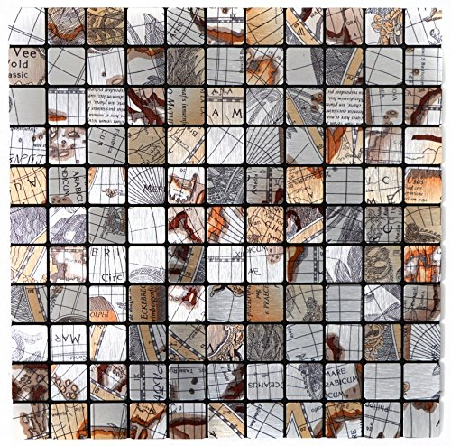 Mosaik Fliese selbstklebend Aluminium silber metall Weltkarte Silber für WAND KÜCHE FLIESENSPIEGEL THEKENVERKLEIDUNG Mosaikmatte Mosaikplatte