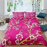 Juego de ropa de cama Home Living de lujo con estampado de flores, 3 piezas, funda de edredón suave, tamaño infantil, 180 x 210 cm