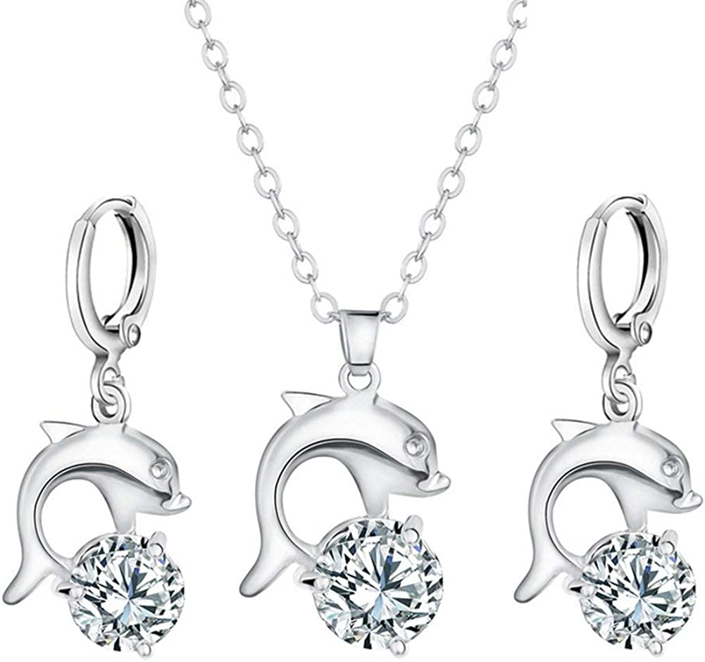 Wintefei Women Fashion Zircon Dolphin Pendant Necklace Hoop Earrings Eardrops Jewelry Set