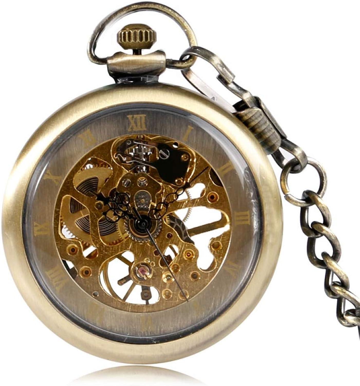 DYH&PW Watches Mechanical Pocket Watch Classic Bronze Hand Winding Steampunk Clock for Men Women
