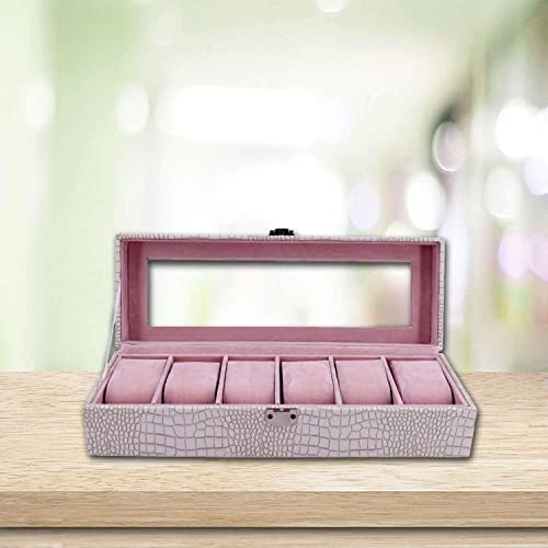 Wrist Watch Organizer Storage Box for 6 Slot PU Leather Finish with Glass Window White Cream