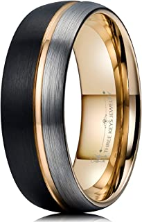 8mm Tungsten Carbide Wedding Ring Thin Side Rose Gold Line Band Brown Silver Brushed