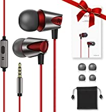 Kuulaa M17 Earphones Wired in Ear, Full Metal Stylish and Comfortable Earbuds with Microphone 3.5mm Jack, Hi Res Stereo Deep Bass and Noise Isolating Headphones for iPhone, iPod, iPad, Samsung-Red