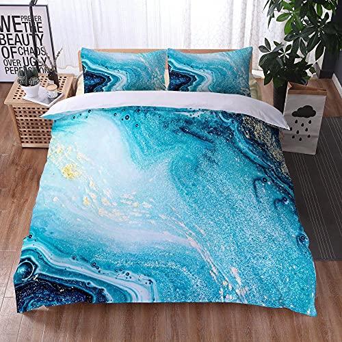 Bedclothes-Blanket Funda nórdica Funda de Colcha,Ropa de Cama Juego de Tres Piezas de Almohadas 3D Impresión Digital de mármol colorido-28_264x228cm