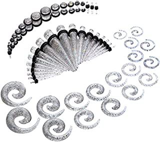 Baosity 54pcs Gauges Kit Glitter Spiral Tapers And Plugs 14G-00G Ear Tunnels Set
